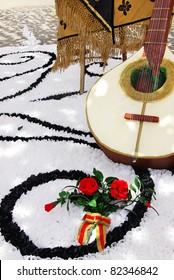 Decoration of tradicional portuguese guitar