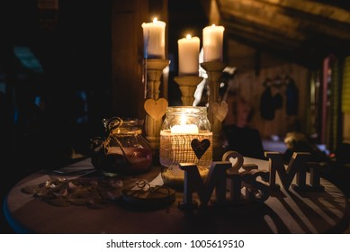 Decoration for wedding party with candles at night