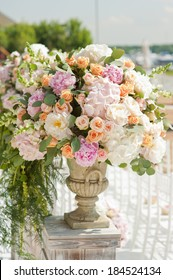 Decoration of weddingceremony. Flowers in vase.