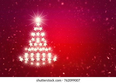 Decoration White Christmas tree on Red background.