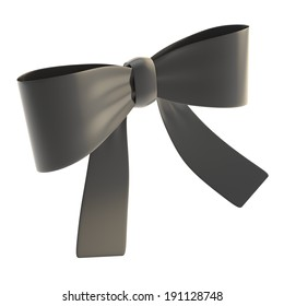 Decorational black glossy ribbon bow isolated over white background