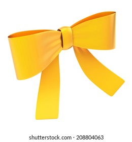 Decorational golden glossy ribbon bow isolated over white background