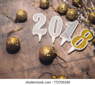 decorations . 2018 Happy new year. Gold Numbers Design of greeting card.