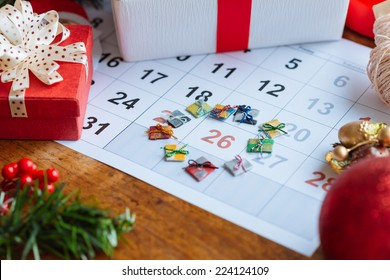 Decorations and calendar with Boxing Day marked out