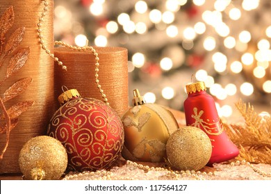 Decorations with Christmas ornaments with lights