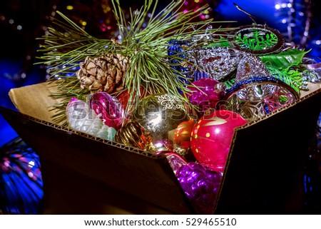Decorations Christmas Tree Box Stock Photo Edit Now 40 Interesting Christmas Tree Decorations In A Box