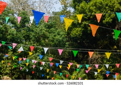 Decorations of colorful pennants and colorful flag