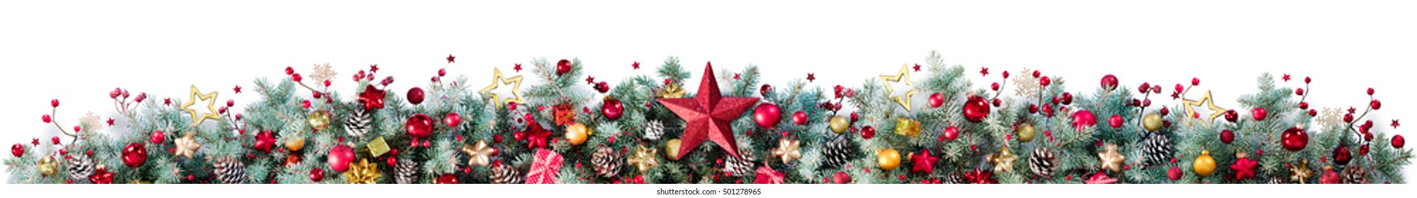 Decorations Of Fir Branches And Baubles On White - Christmas Border