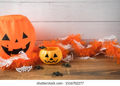 Decorations for Halloween against the wall of white boards
