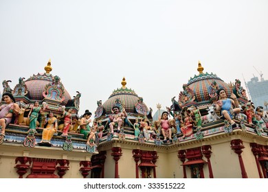 Decorations of the Hindu temple Sri Mariamman near China Town Singapore