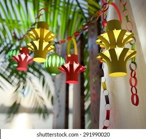 Decorations inside a Sukkah during the Jewish holiday celebration of Sukkoth