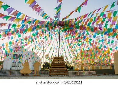 Decorations for the June Festivals (aka festas de Sao Joao) in the historic center of Oeiras  - Piaui, Brazil
