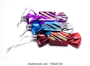 decorations for new year and Christmas on white background