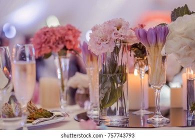 decorations on wedding tables flowers scenery
