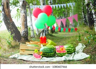 decorations for a photo shoot with watermelons