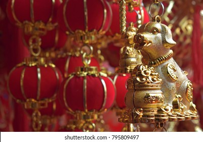 Decorations and red lanterns for Chinese New Year lunar displayed at China town in Bangkok on January 17, 2018.