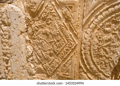 Decorations of the Temple of Bacchus. The ruins of the Roman city of Heliopolis or Baalbek in the Beqaa Valley. Baalbek, Lebanon
