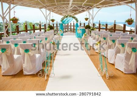 Decorations Tropical Wedding Stylish Marriage Ceremony Stock Photo