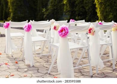 Decorations wedding, stylish marriage ceremony, bridal day decorations, luxury, soft focus selective