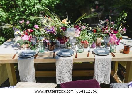 Decorations Wedding Table Outdoor Reception Stockfoto Jetzt