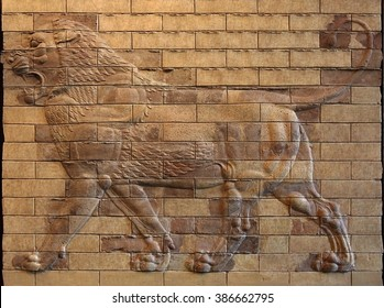 Decorative ancient panels of molded terracotta bricks with Lion Bas Relief from ruins of Susa, Iran.