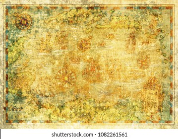 Decorative antique texture background with nautical chart, adventure treasures hunt concept, old sea map, digital collage with copy space