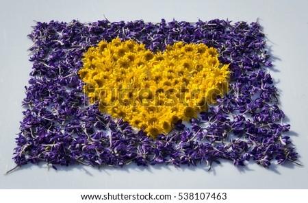 Decorative applique flowers form heart on stock photo edit now