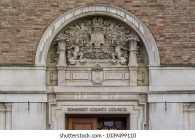 Decorative Arch above Main Entrance to Taunton County Hall, Bas-relief Shallow Depth of Field