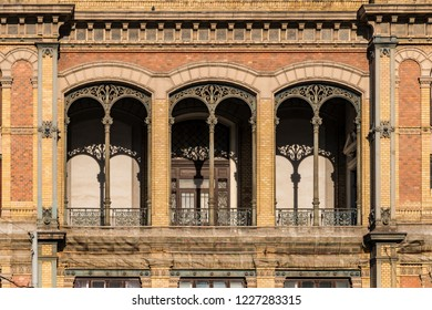 Decorative Arched Windows of the exterior of the Budapest West Train Station.