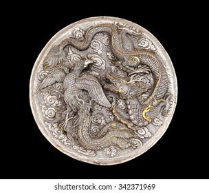 Decorative Art of Lanna Thai. silver carving art on temple wall . Srisuphan temple , Chiang mai, Thailand , (Public area)