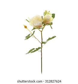 Decorative artificial bunch of white roses isolated on a white