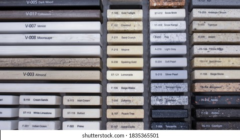 Decorative artificial stone in samples. Suitcase with samples of artificial stone. Finishing material, interior renovation. Gomel / Belarus / 16.10.2020 year