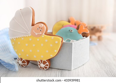Decorative baby cookies in gift box