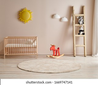 Decorative baby room stylish background, light wall concept, stairs and toy with sun decor. Wooden crib and bed.