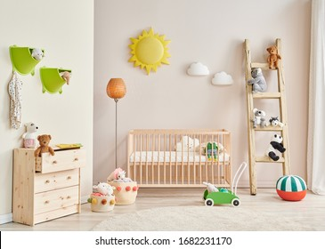 Decorative baby room wooden detail and baby interior.