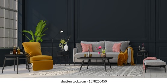 Decorative backdrop of a room at home, office and hotel. Modern sofa interior design and bright modern interior details against a dark classic wall. Bright light from the window.