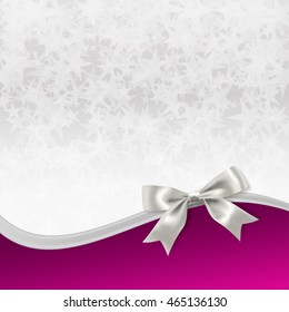 decorative background with stars, silver ribbon and bow. raster