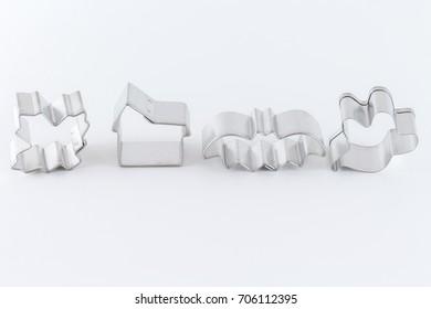 decorative baking molds isolated on white background