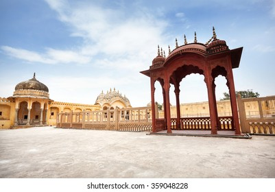 Decorative balcony on the roof of Hawa Mahal Palace at blue sky in Rajasthan, India