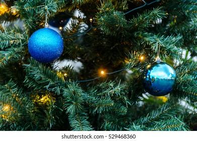 Decorative balls on Christmas tree