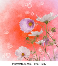 Decorative beautiful pink flower over abstract background