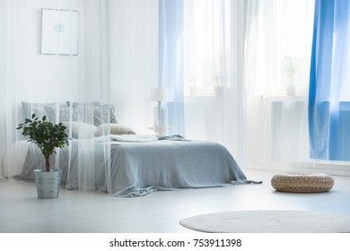 Decorative bed canopy in calm and relaxing bedroom with wicker pouf, rug and plant