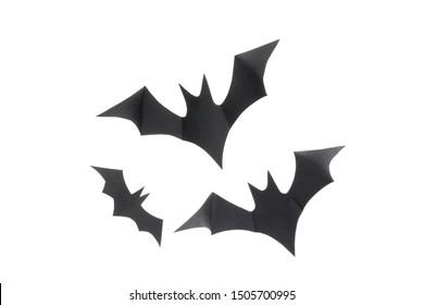 Decorative black bats isolated on white background