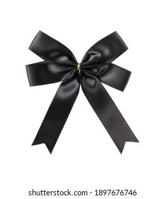 Decorative black silk bow isolated on white background. Design element with clipping path