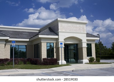 decorative block professional office building with tile accents