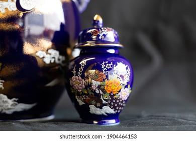 Decorative Blue Chinese porcelain lidded ginger jar