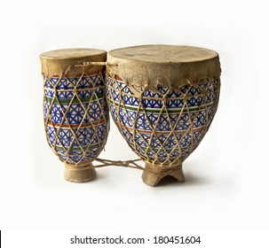 Decorative bongo drums.