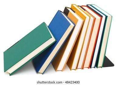 decorative bookshelf on white background