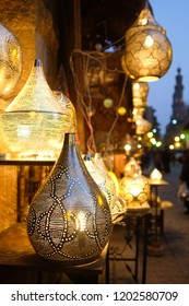 Decorative brass lamp in Khan Al - Khalili Bazaar in Cairo - Egypt