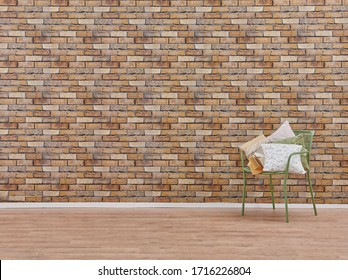 Decorative brick wallpaper background and chair concept, interior decor.